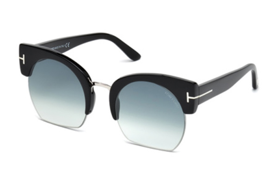 Tom Ford FT0552 Savannah-02 Sunglasses in 01W - Shiny Black / Gradient Blue