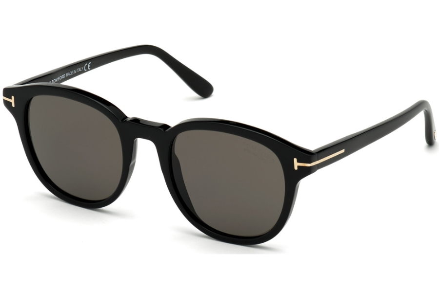 Tom Ford FT0752 Sunglasses in 01D - Shiny Black/ Polarized Smoke Lenses