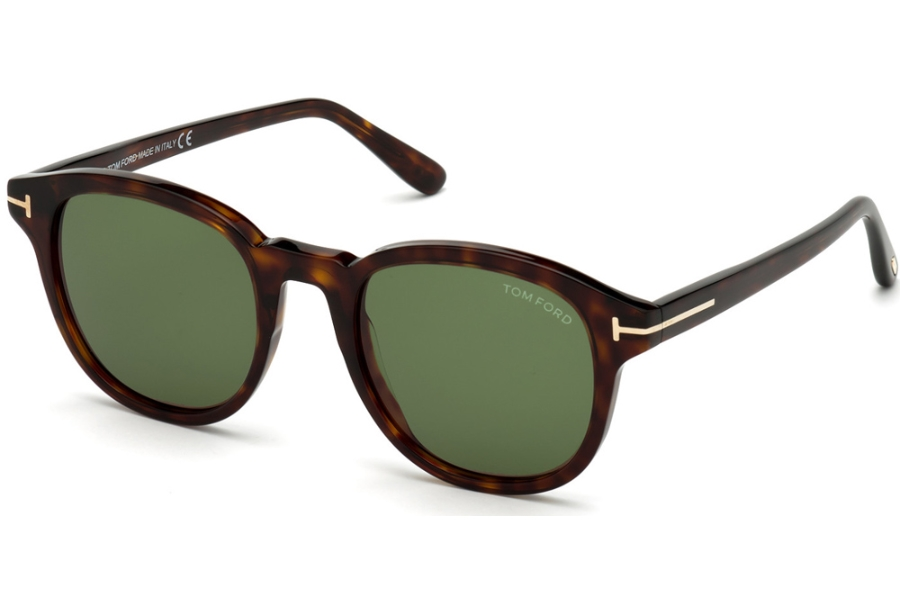 Tom Ford FT0752 Sunglasses in 52N - Classic Dark Havana/ Green Lenses