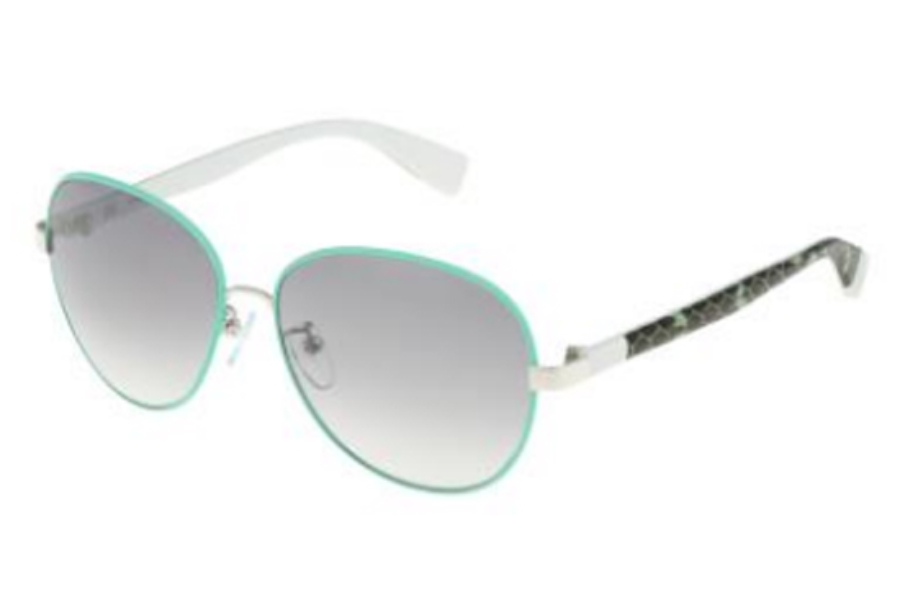 Furla SU 4315 Sunglasses in 8L5X Shiny Palladium-Green/Gradient Smoke Mirror