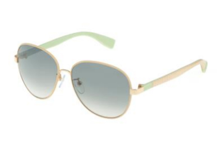 Furla SU 4315 Sunglasses in H32X Shiny Rose Gold-Beige/Gradient Green