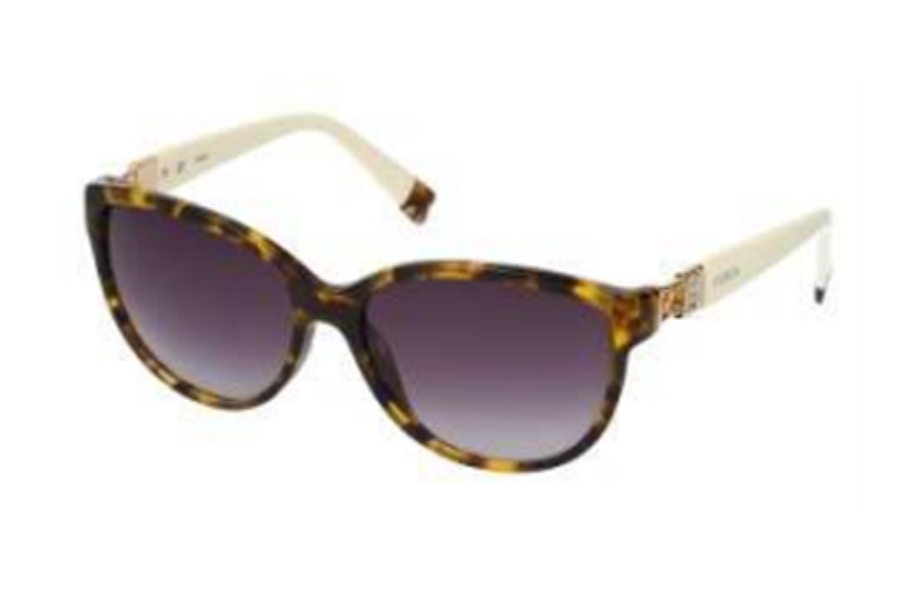 Furla SU 4856S Sunglasses in 744 Tortoise-Crystal/Gradient Grey Lens
