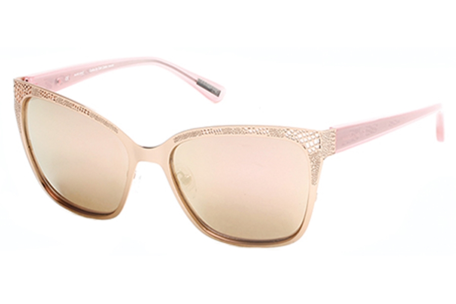Guess by Marciano GM 742 Sunglasses in 29G Matte Rose Gold / Brown Mirror