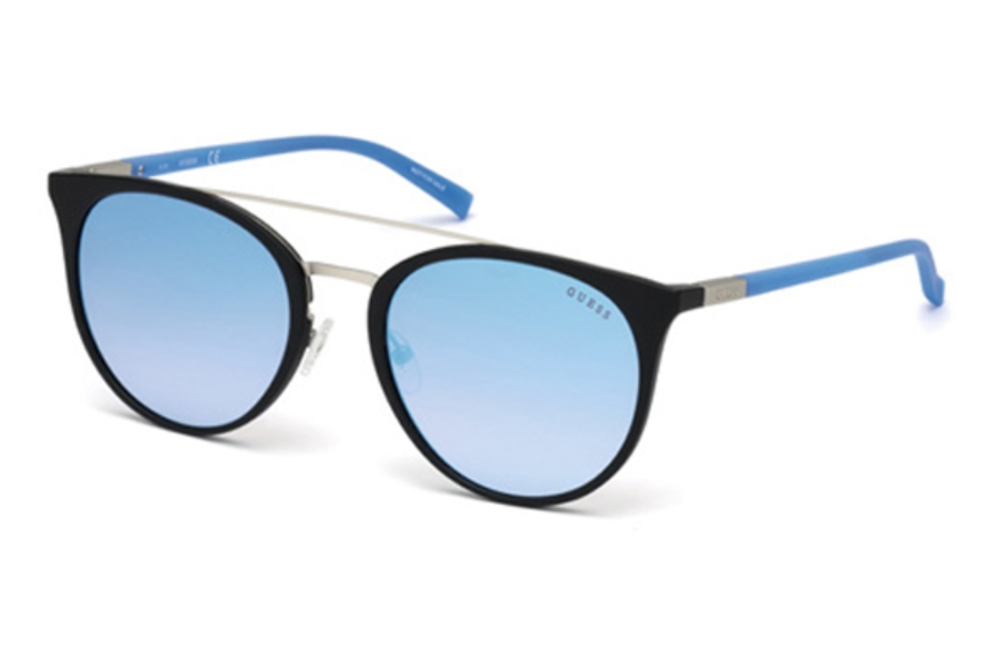 Guess GU 3021 Sunglasses in 05X - Black/Other / Blu Mirror