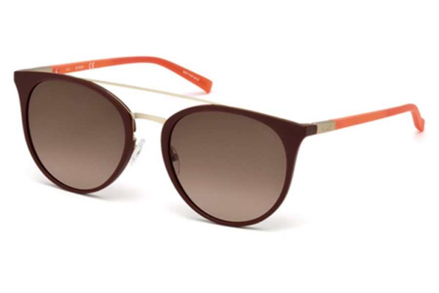 Guess GU 3021 Sunglasses in 49F - Matte Dark Brown / Gradient Brown