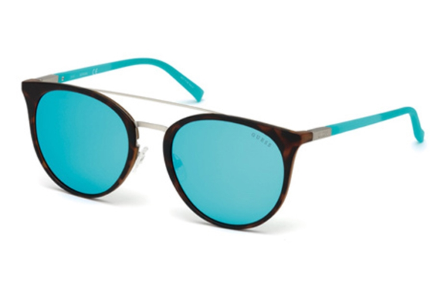 Guess GU 3021 Sunglasses in 52C - Dark Havana / Smoke Mirror