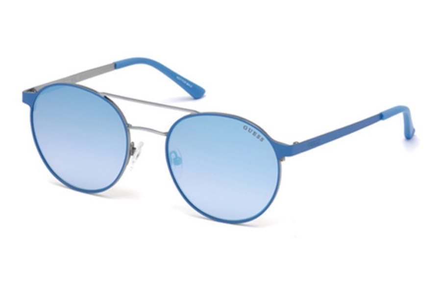 Guess GU 3023 Sunglasses in 86X - Light Blue/Other / Blu Mirror
