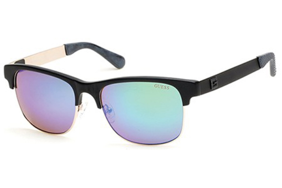 Guess GU 6859 Sunglasses in 02Q - Matte Black / Green Mirror