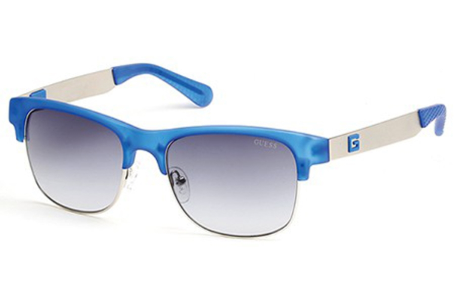 Guess GU 6859 Sunglasses in 91B - Matte Blue / Gradient Smoke