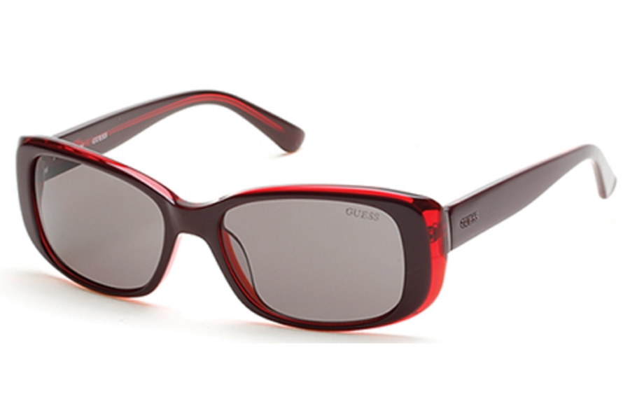 Guess GU 7408 Sunglasses in 69A Shiny Bordeaux / Smoke