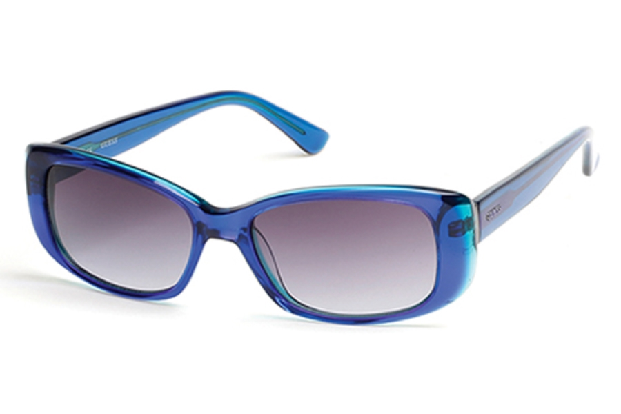 Guess GU 7408 Sunglasses in 90X Shiny Blue / Blu Mirror