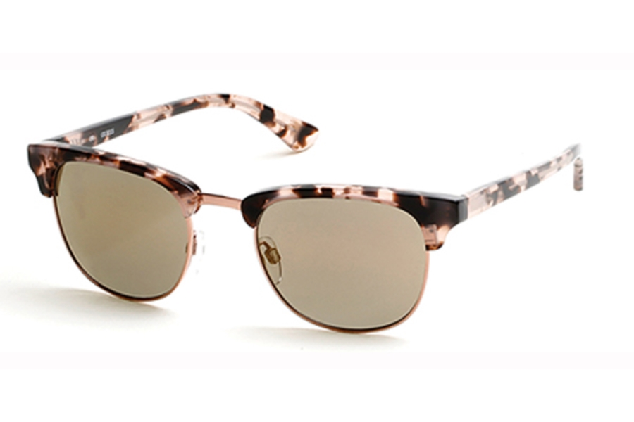 Guess GU 7414 Sunglasses in 55U - Coloured Havana / Bordeaux Mirror