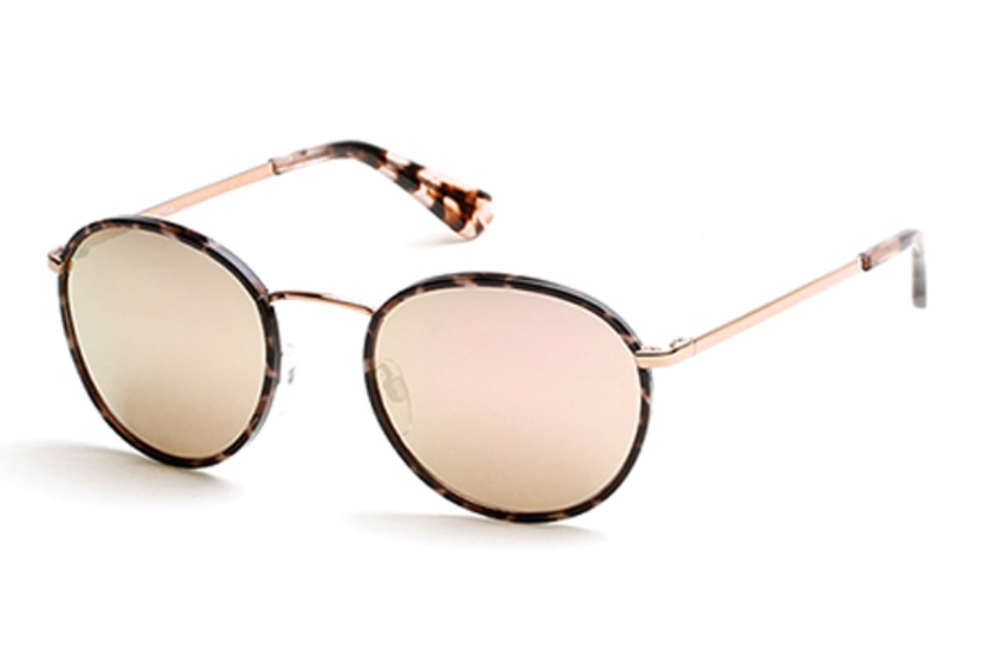 Guess GU 7415 Sunglasses in 28U - Shiny Rose Gold / Bordeaux Mirror
