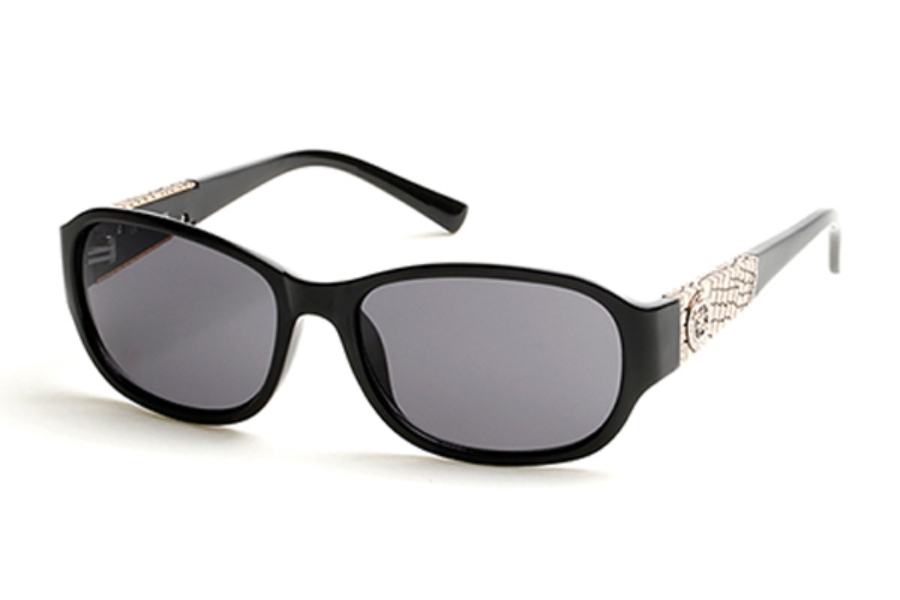 Guess GU 7425 Sunglasses in 01A Shiny Black / Smoke
