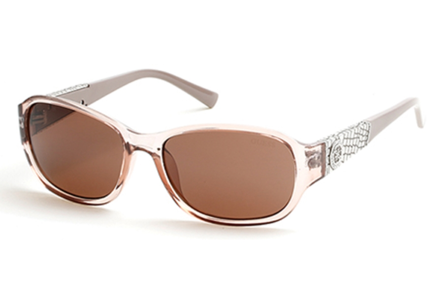 Guess GU 7425 Sunglasses in 57E Shiny Beige / Brown