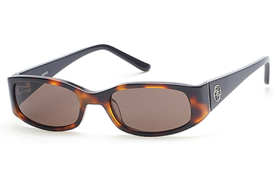 Guess GU 7435 Sunglasses in 52E - Dark Havana / Brown