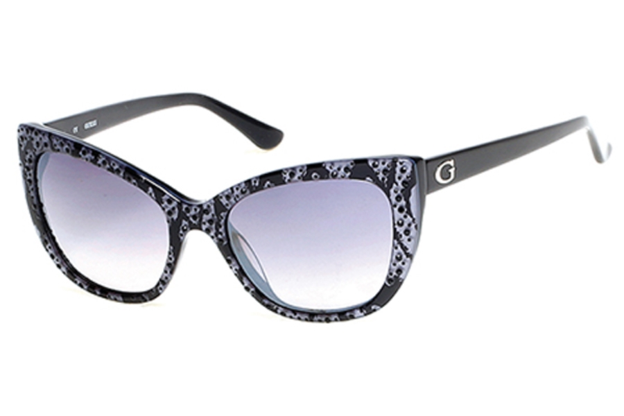 Guess GU 7438 Sunglasses in 05B - Black/Other / Gradient Smoke