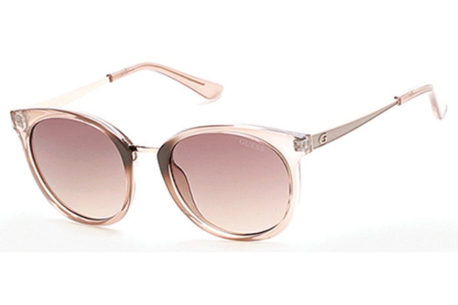 Guess GU 7459 Sunglasses in 57F - Shiny Beige / Gradient Brown