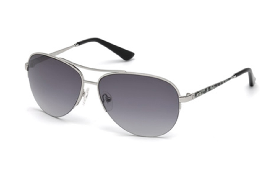 Guess GU 7468 Sunglasses in 10B - Shiny Light Nickeltin / Gradient Smoke
