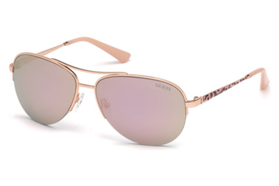 Guess GU 7468 Sunglasses in 28C - Shiny Rose Gold / Smoke Mirror