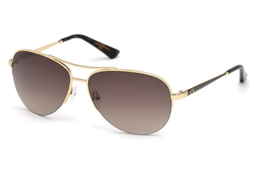 Guess GU 7468 Sunglasses in 32F - Gold / Gradient Brown