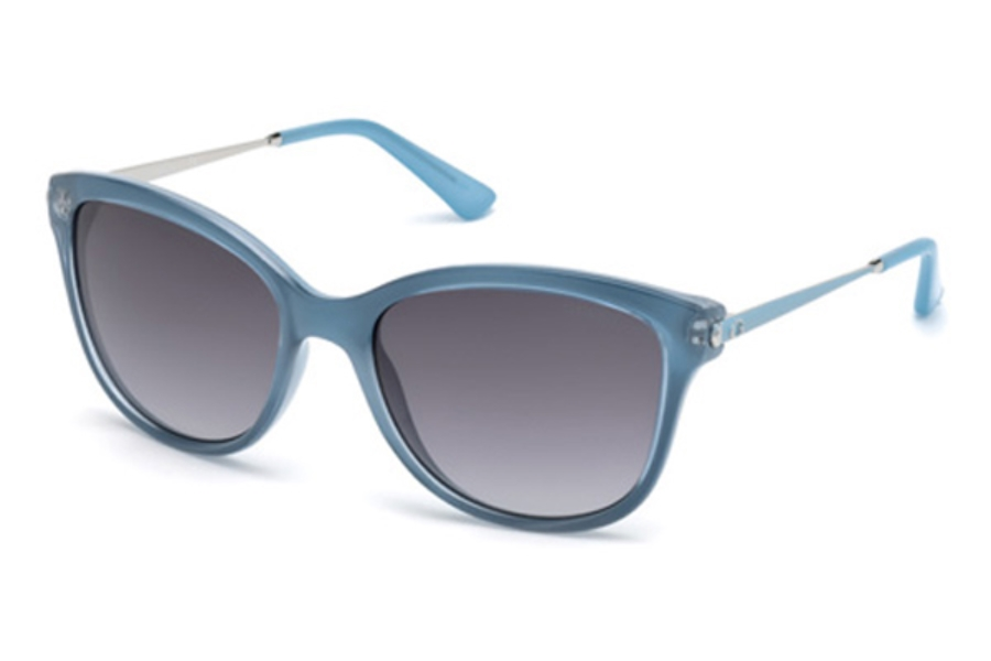 Guess GU 7469 Sunglasses in 84W - Shiny Light Blue / Gradient Blue