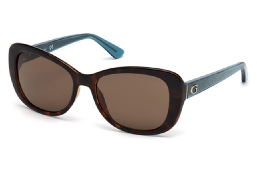 Guess GU 7475 Sunglasses in 52E - Dark Havana / Brown