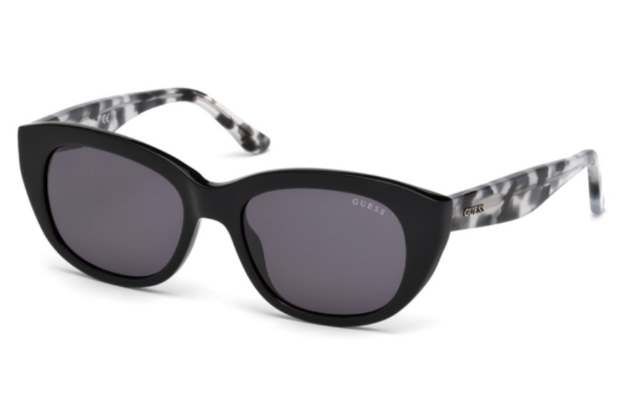 Guess GU 7477 Sunglasses in 01A - Shiny Black / Smoke