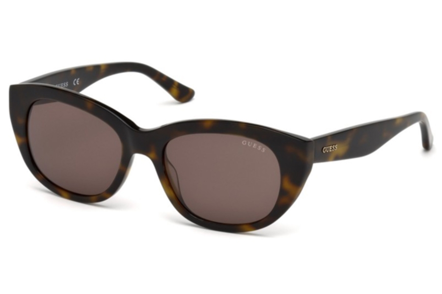 Guess GU 7477 Sunglasses in 52E - Dark Havana / Brown