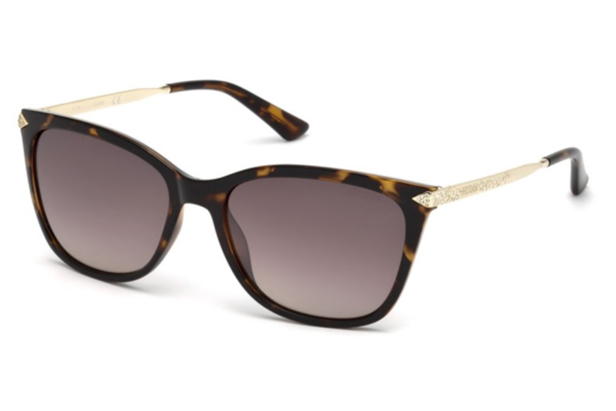 Guess GU 7483-S Sunglasses in 56G - Havana/Other / Brown Mirror