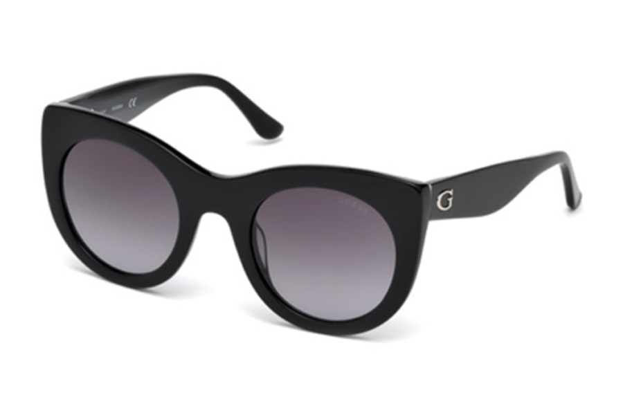 Guess GU 7485 Sunglasses in 01B - Shiny Black / Gradient Smoke