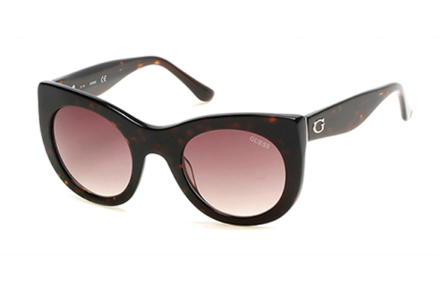 Guess GU 7485 Sunglasses in 52F - Dark Havana / Gradient Brown