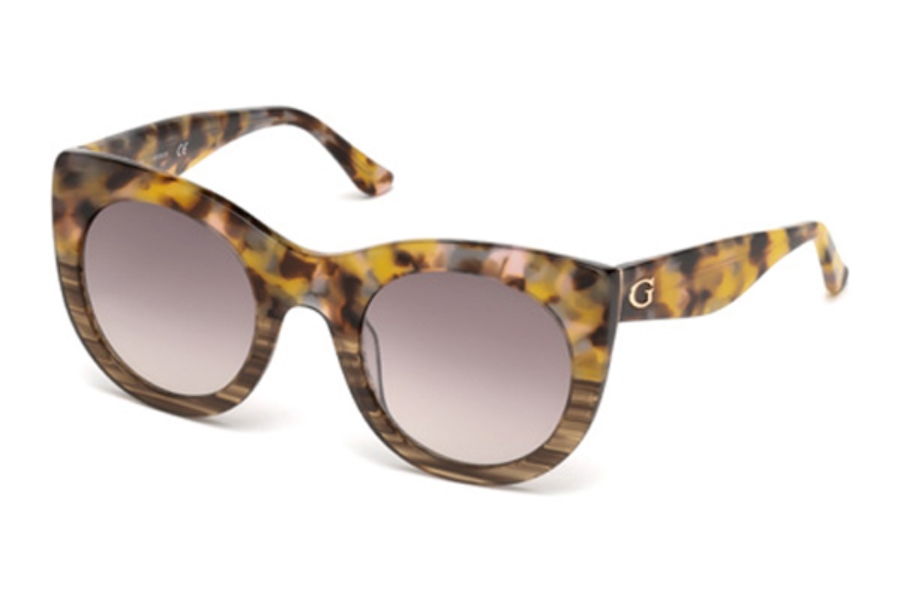 Guess GU 7485 Sunglasses in 53F - Blonde Havana / Gradient Brown