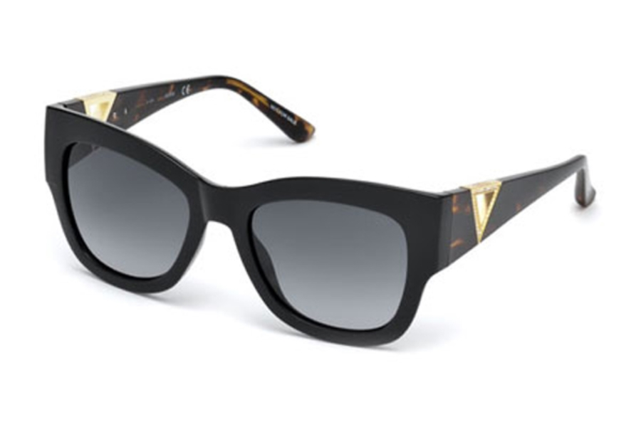 Guess GU 7495-S Sunglasses in 01B - Shiny Black / Gradient Smoke