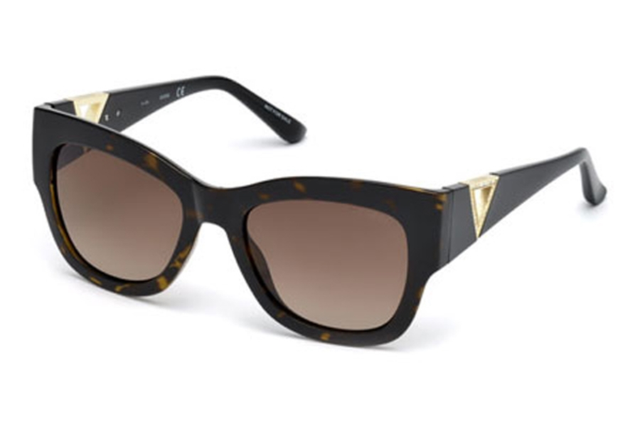 Guess GU 7495-S Sunglasses in 52F - Dark Havana / Gradient Brown