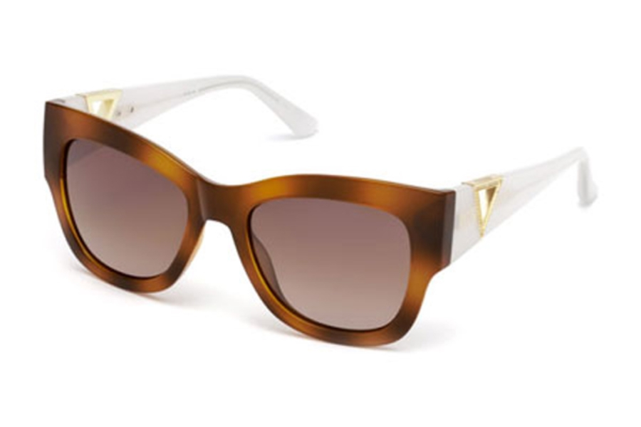 Guess GU 7495-S Sunglasses in 56G - Havana/Other / Brown Mirror