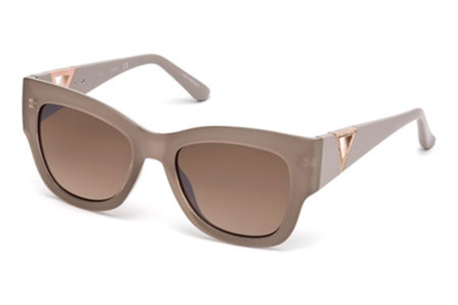 Guess GU 7495-S Sunglasses in 57G - Shiny Beige / Brown Mirror