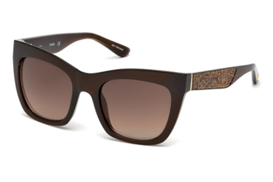 Guess GU 7509 Sunglasses in 45F - Shiny Light Brown / Gradient Brown