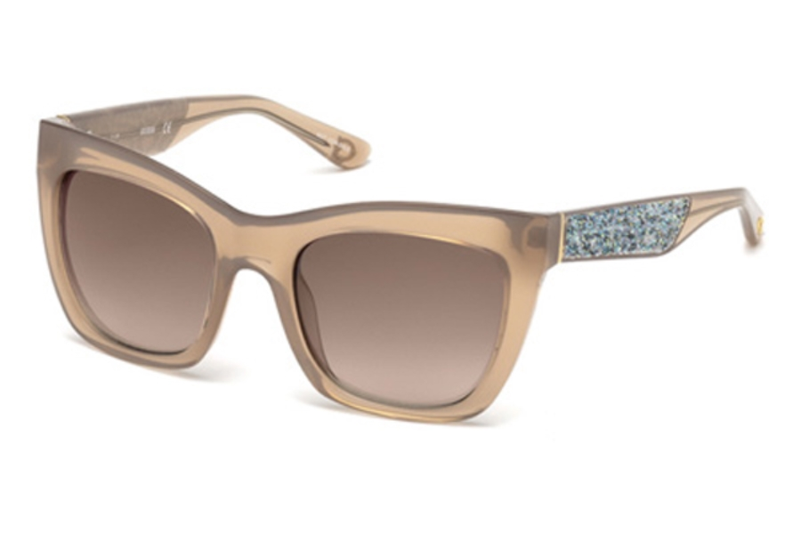 Guess GU 7509 Sunglasses in 57G - Shiny Beige / Brown Mirror
