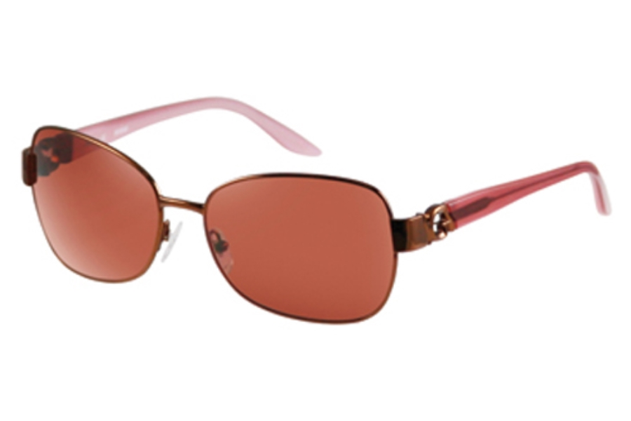 Guess GU 7000 Sunglasses in Brown (Frt)/Pink (Tpls) w/Fashion Rose Lenses - (/20)