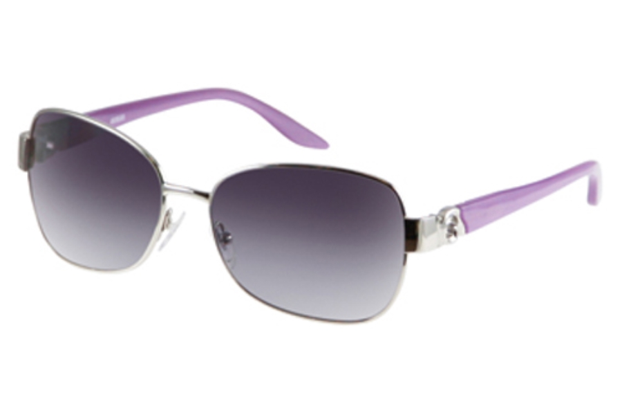Guess GU 7000 Sunglasses in Silver (Frt)/Purple (Tpls) w/Grey Gradient Lenses - (/35)