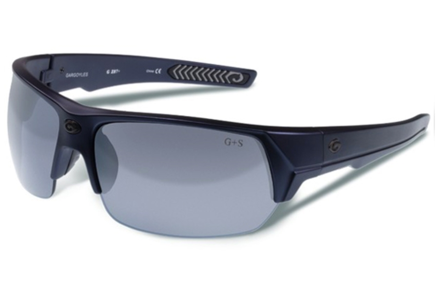 Gargoyles Recoil Sunglasses in Matte Metallic Navy/Smoke Silver Mirror
