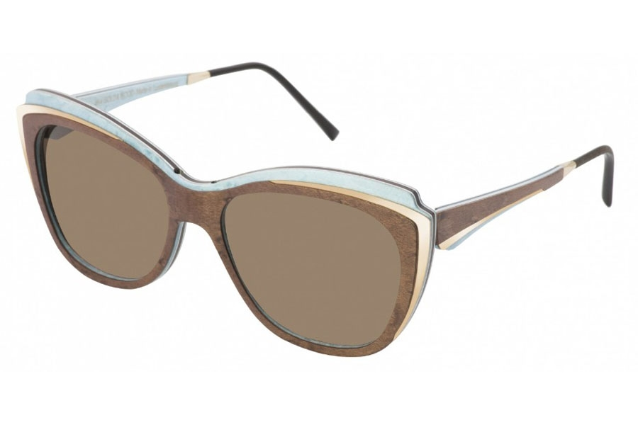 Gold & Wood Lea 01 Sunglasses in 02 Brown Bird Eye'S Maple / Blue Bird'S Eye Maple / Champagne Gold