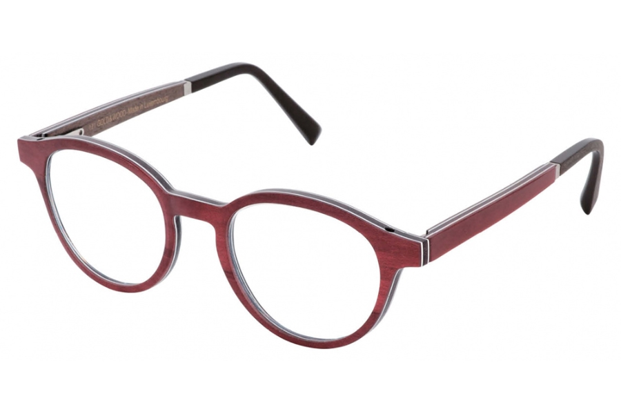 Gold & Wood Naos 01 Eyeglasses in 41 Burgundy Bolivar / Brown Bird's Eye Maple