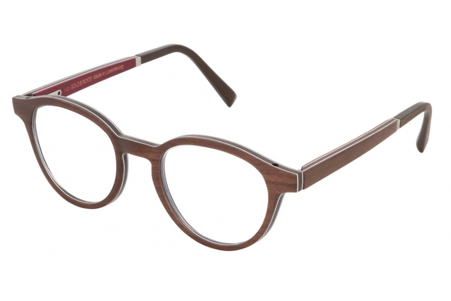 Gold & Wood Naos 01 Eyeglasses in 42 Brown Tanganika / Burgundy Bolivar