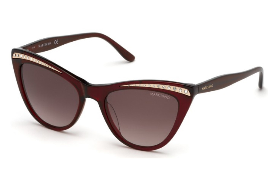 Guess by Marciano GM 793 Sunglasses in 66F - Shiny Red / Gradient Brown Lenses