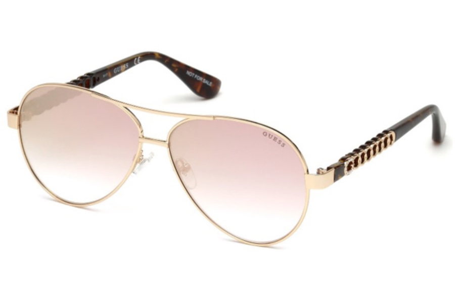Guess GU 7518-S Sunglasses in 28G - Shiny Rose Gold / Brown Mirror