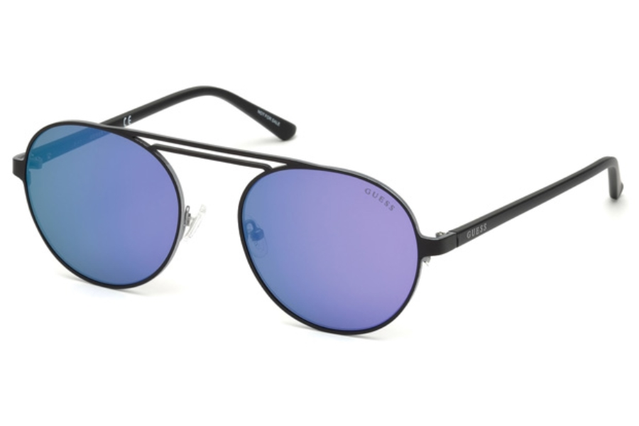 Guess GU 3028 Sunglasses in 02Z - Matte Black / Gradient Or Mirror Violet