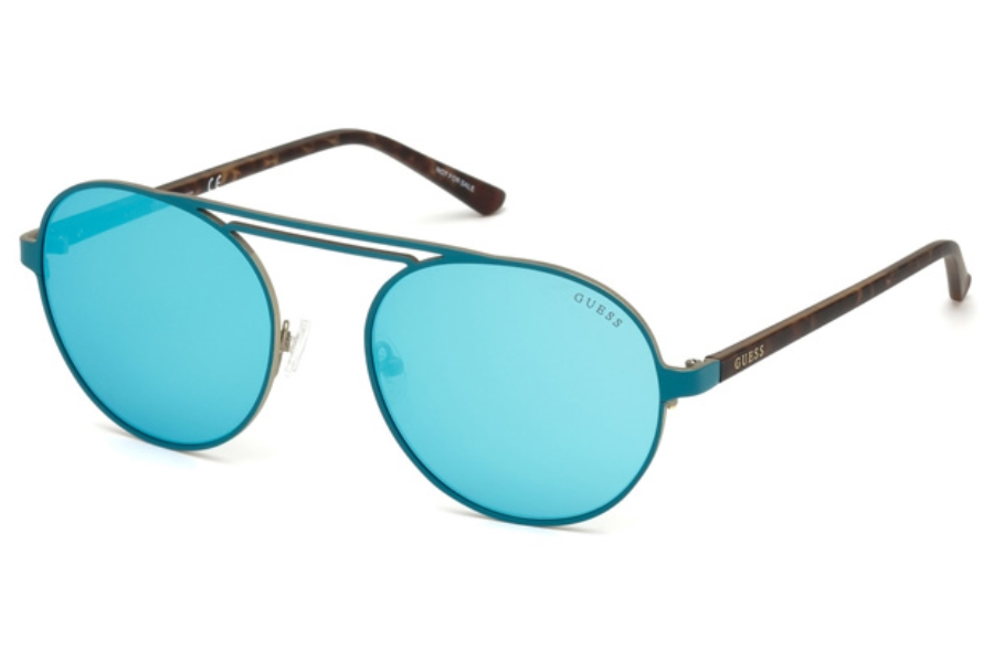 Guess GU 3028 Sunglasses in 88Q - Matte Turquoise / Green Mirror
