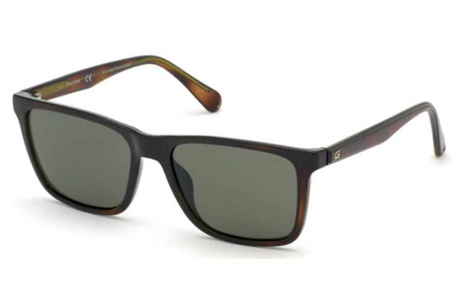 Guess GU 6935 Sunglasses in 52N - Dark Havana / Green